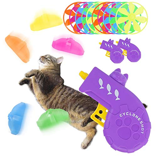 GLARIAL Cat Toys, 2 Pack Interactive Cat Flying Disk Toy with 5 Colors Flying Propellers Satisfies Kitty's Hunting, Chasing & Exercising Needs