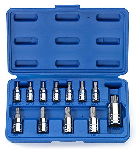 Neiko 10085A Tamperproof Torx Plus Bit Socket, 12 Piece Set | 5 Point Star, 8 IPR - 60 IPR | Cr-V & S2 Steel