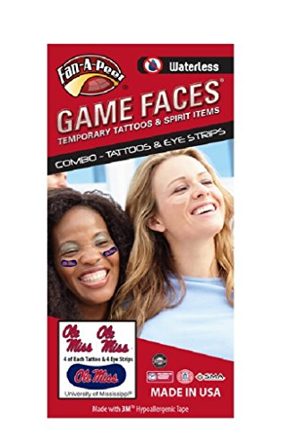University of Mississippi (Ole Miss) Rebels – Waterless Peel & Stick Temporary Tattoos – 12-Piece Combo – Eye Strips