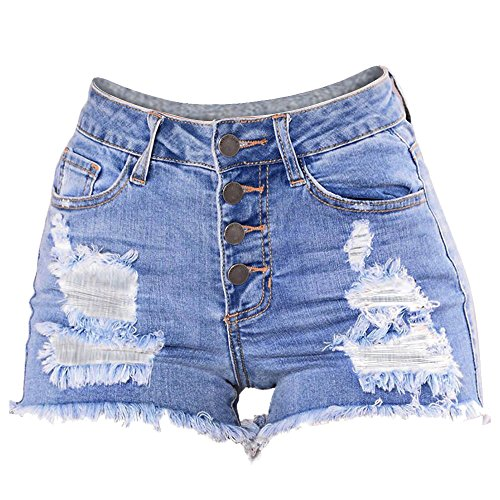 Women's Casual Mid Waisted Jeans Washed Ripped Hole Short Mini Button Denim Pants Super Shorts Light Blue