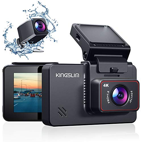 Kingslim D4 4K Dual Dash Cam with Built-in WiFi GPS, Front 4K/2.5K Rear 1080P Dual Dash Camera for Cars , 3' IPS Touchscreen 170° FOV Dashboard Camera with Sony Starvis Sensor, Support 256GB Max