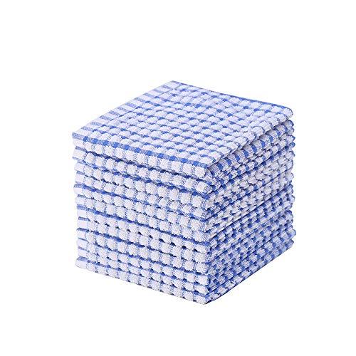 Kitchen Dishcloths 12pcs 12x12 Inches Bulk Cotton Kitchen Dish Cloths Scrubbing Wash Cloths Sets (Blue)
