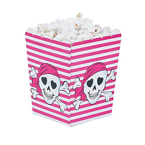 Fun Express - Pink Pirate Popcorn Boxes (24pc) for Birthday - Party Supplies - Containers & Boxes - Paper Boxes - Birthday - 24 Pieces