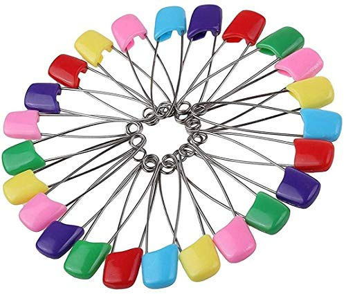 142 PCS 5.5cm Length Baby Safety Pins, Assorted Color Plastic Head Diaper Nappy Pins, Safety Pins Plastic Head Locking Cloth Safety Pins Clip Holder - Pins for Cloth, Diaper, Dress, Socks, and Gloves