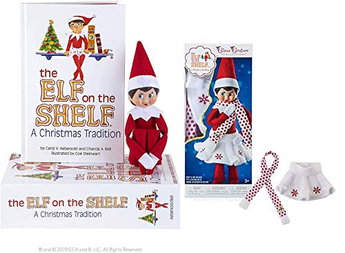 The Elf on the Shelf: A Christmas Tradition Girl Scout Elf (Blue Eyed) with Claus Couture Collection Snowflake Skirt & Scarf Outfit