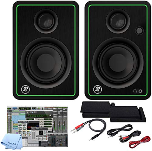 Mackie CR5-X BT Five-Inch Creative Reference Multimedia Bluetooth Monitors Bundle with and Pro Cable Kit Featuring Pro Tools First DAW Music Editing Software + Isolation Pads