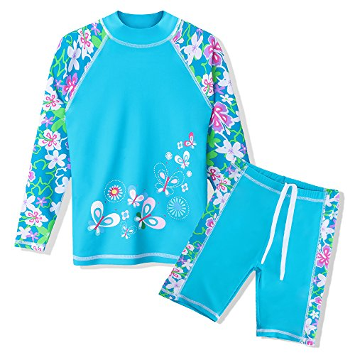 TFJH E 2 Piece Swimsuits for Girls UPF 50+ UV Sun Protetive Swimwear Size 7-8 Blue Flower 128/134
