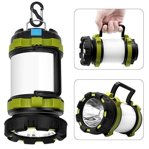 Wsky LED Camping Lantern Rechargeable Light Flashlight - T2000 High Lumen, 6 Modes, 3600mAh Power Bank - Best Lantern Flashlight for Camping, Outdoor, Hurricane, Emergency, Everyday Light Flashlight