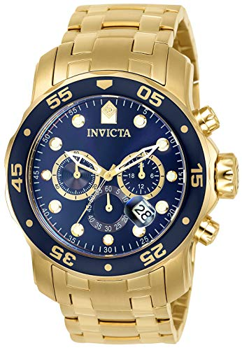 Invicta Men's Pro Diver Scuba 48mm Gold Tone Stainless Steel Chronograph Quartz Watch, Gold/Blue (Model: 0073)