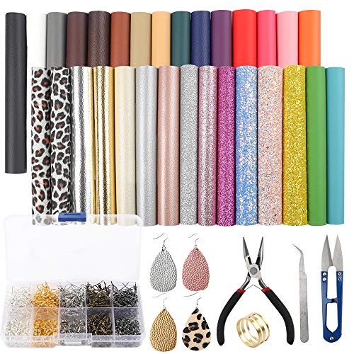 SGHUO 30pcs Leather Earring Making Kit Include 4 Kinds of Faux Leather Sheets and Tools for Earrings Craft Making Supplies