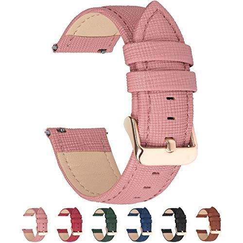 6 Colors for Quick Release Leather Watch Band, Fullmosa Cross Genuine Leather Watch Strap 14mm Pink