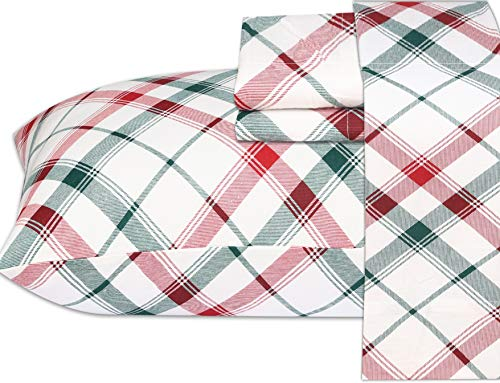 Ruvanti 100% Cotton 4 Pcs Flannel Sheets King, Red & Green Cross Plaid, Deep Pocket-Warm-Super Soft-Breathable Moisture Wicking Flannel Bed Sheet Set Include Flat Sheet, Fitted Sheet 2 Pillowcases