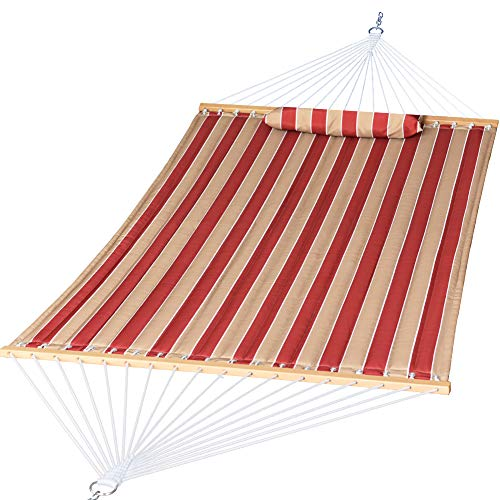 Prime Garden Double Fabric Hammock with Solid Wood Spreader Bar, Heavy Duty Hammock for Outdoor Patio Backyard, Waterproof and UV Resistance, 2 Person 450 Pound Capacity, Cherry Stripe