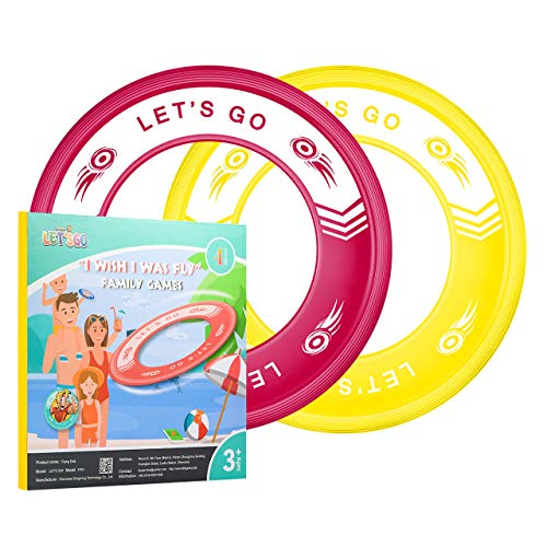 Dreamingbox Boy Toys Age 3-12, Flying Rings for Kids Easy Throw & Catch Beach Toys for Kids 3-12 Christmas Xmas Gifts for Girls 3-12 Years Old Stocking Fillers Red/Yellow TGFP03