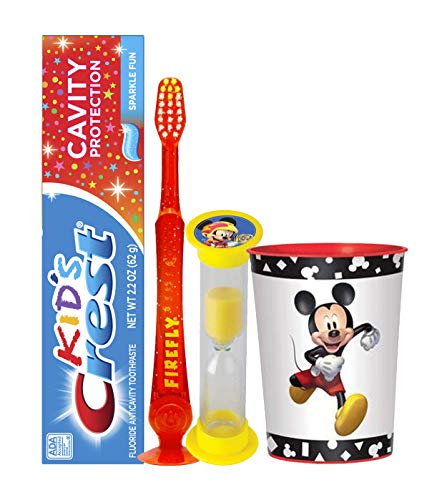 Mickey Mouse Inspired 4pc Bright Smile Oral Hygiene Set - Flashing Lights Toothbrush, Toothpaste, Brushing Timer & Mouthwash Rinse Cup