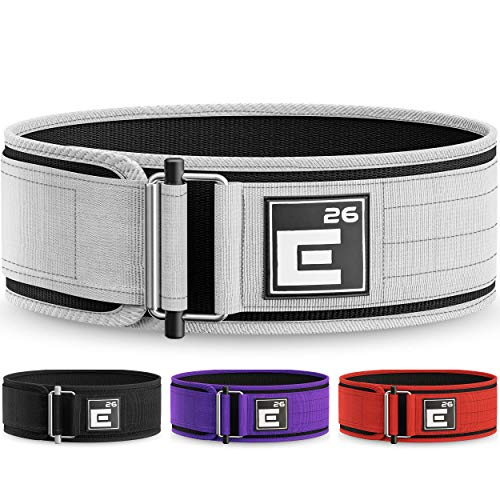 Element 26 Self-Locking Weight Lifting Belt | Premium Weightlifting Belt for Serious Crossfit, Weight Lifting, and Olympic Lifting Athletes (Large, White)