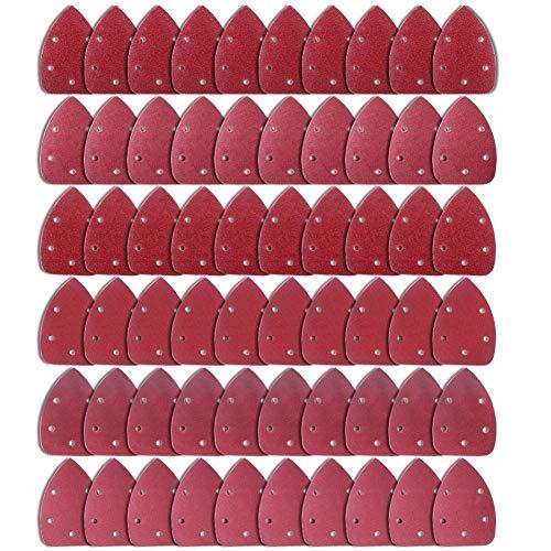 AUSTOR 60 Pieces Mouse Detail Sander Sandpaper Sanding Paper Hook and Loop Assorted 40/60/ 80/120/ 180/240 Grits