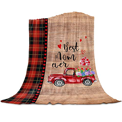 Vandarllin Best Mom Ever Super Soft Throw Blankets Mothers Day Rusic Red Buffalo Plaid Love Truck Fluffy Fuzzy Flannel Bed Blanket Decorative for Home Sofa Couch Chair Living Bedroom,40x50 in