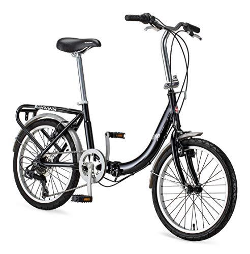 Schwinn Loop Adult Folding Bike, 20-inch Wheels, 7-Speed Drivetrain, Rear Carry Rack, Carrying Bag, Black
