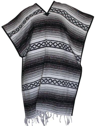 Del Mex Classic Mexican Blanket Poncho, Gray