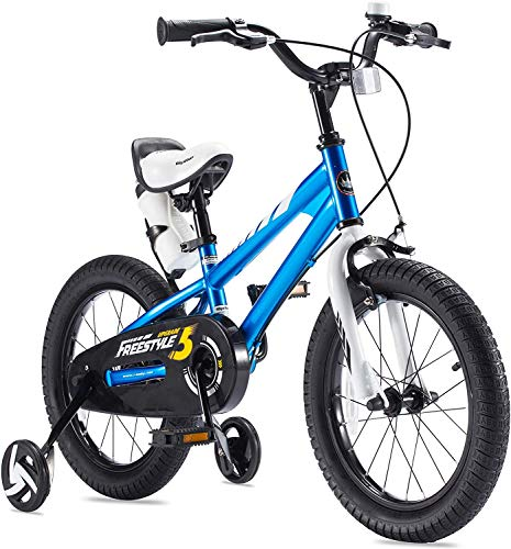 RoyalBaby Boys Girls Kids Bike 12 Inch BMX Freestyle 2 Hand Brakes Bicycles with Training Wheels Child Bicycle Blue