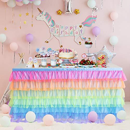 Rainbow Tulle Table Skirt Tutu Unicorn Table Skirts for Kids Party Baby Shower Girl Birthday Unicorn Room Decor 6ft