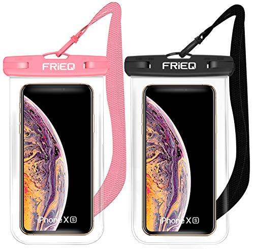 FRiEQ Waterproof Case 2 Pack for iPhone 11 / iPhone 11 Pro Max Xs Max XR XS X 8 7 6S Plus, Samsung Galaxy S10 S10e S9 S8 +/Note 9 8, Pixel 3 2 XL HTC LG Sony Moto up to 6.8' (Black and Pink)