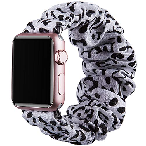 Vikoros Dressy Bracelet Compatible with Apple Watch Band 38mm 40mm 42mm 44mm Iwatch Series 5 4 3 2 1 Sport, Elastic Scrunchie Cloth Fancy Bracelets Wristbands Strap for Women Girls