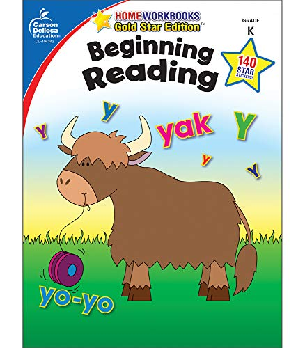 Carson Dellosa | Beginning Reading Workbook | Kindergarten, 64pgs (Home Workbooks)