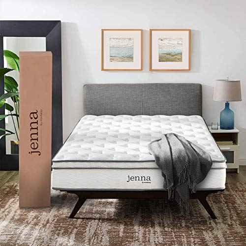 "Modway AMZ-5770-WHI Jenna 10"" Queen Innerspring Mattress - Top Quality Quilted Pillow Top - Individually Encased Pocket Coils - 10-Year Warranty,White"