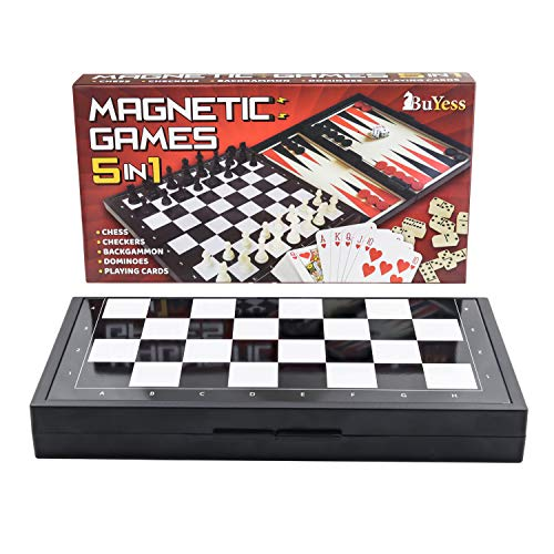 5 in 1 Magnetic Travel Chess, Checkers, Dominoes, Backgammon, Cards Set 9.8' x 9.8' Mini Board Games