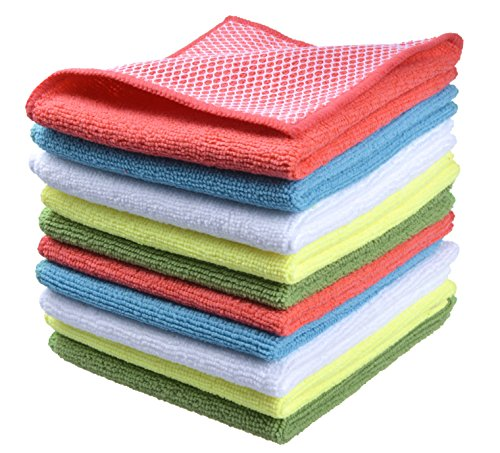 SINLAND Microfiber Dish Cloth for Washing Dishes Dish Rags Best Kitchen Cloths Cleaning Cloths with Poly Scour Side 5 Color Assorted 12'x12' 10 Pack (Pinkx2+bluex2+whitex2+yellowx2+greenx2)