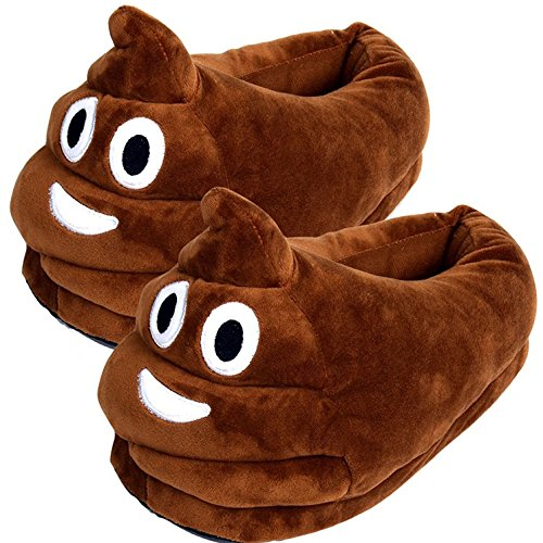 W Cute Poop Emoji Slippers Plush Cotton Comfortable Indoor Shoe for Kids & Women with Non-Skid Foot Pads (B11804)