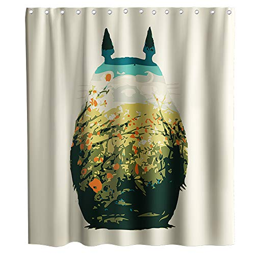 Cute Totoro Art Shower Curtain Cartoon Kids Animals Theme Fabric Bathroom Decor Sets with Hooks Waterproof Washable 72 x 72 inches Blue Yellow and Black…