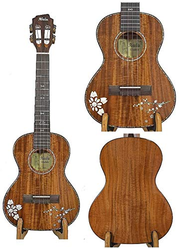 Alulu Solid Acacia koa wood Tenor Ukulele, flower mop inlaid, SATCU-series, No Two Ukuleles Are Alike