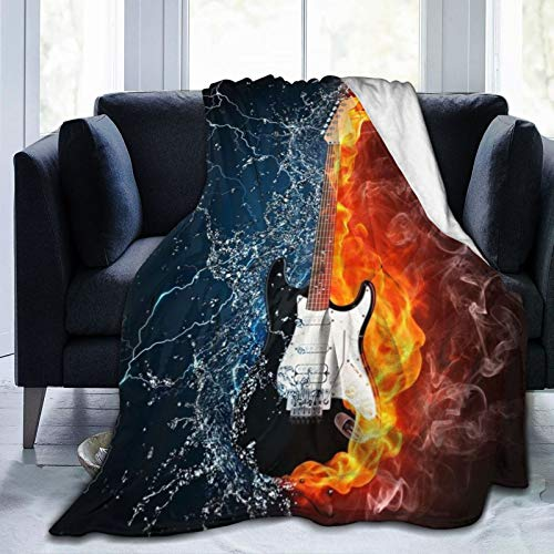 3D Flame Electric Guitar in Fire and Water Throw Blankets 60 x 80, Fall Flannel Fuzzy Blankets and Throws, Camping Blanket for All Seasons for Women Men Adults, Super Soft Cozy Warm Blanket