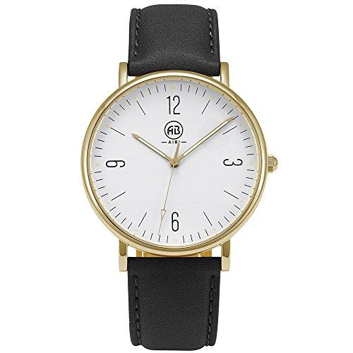 AIBI Mens Unisex Waterproof Simple Casual Analog Quartz Black Leather Band Dress Wrist Watch