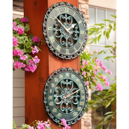 Palos Designs 14' Verdigris Medallion Outdoor Clock and Thermometer Combo Set - Ideal for Indoor and Outdoor Use, Makes a Great Housewarming Gift