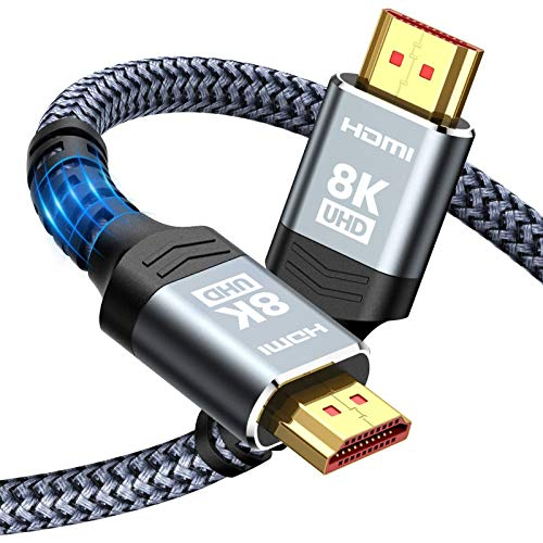 8K HDMI Cable 48Gbps 6.6FT/2M, Highwings Ultra High Speed HDMI Braided Cord-4K@120Hz 8K@60Hz, DTS:X, HDCP 2.2 & 2.3, HDR 10 Compatible with Roku TV/PS5/HDTV/Blu-ray