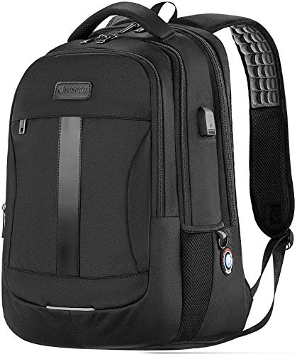 Laptop Backpack, 15.6-17 Inch Sosoon Travel Backpack for Laptop and Notebook, High School College Bookbag for Women Men Boys, Anti-Theft Water Resistant Bussiness Bag with USB Charging Port, Black