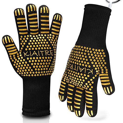 Kiaitre Grill Gloves 1472°F Extreme Heat Resistant - Flexible Oven Gloves 12.5' Silicone Non-Slip BBQ Grilling Gloves for Cooking Barbecue Baking, Long Sleeve for Extra Wrist Protection(1 Pair)