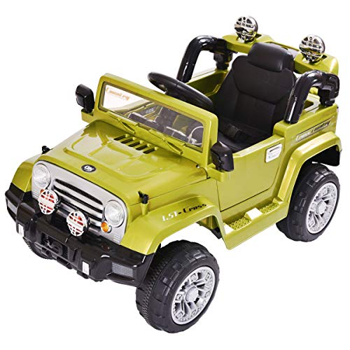 Enjoy Happy Fun, Ride Truck Kids Car 12V LED Lights Battery Electric Green Power Wheel Remote Control Speed, Play Toy