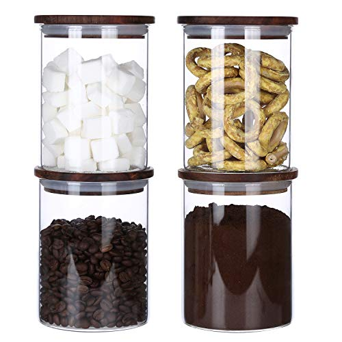 Clear Glass Canister Jar Container Set for Food Storage with Airtight Wood Lid,Kitchen Canister,BPA Free (25floz x 4)