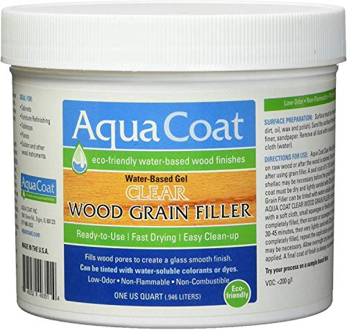 Aqua Coat, Best Wood Grain Filler. Clear Gel, Water Based, Low odor, Fast Drying, Non Toxic, Environmentally Friendly. Quart.