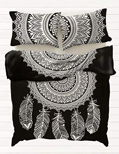 Dream Catcher Mandala Duvet Cover Queen/Twin Size, Doona Cotton Throw, Bohemian Doona Cover, Boho Quilt Cover Comforter Set with 2 Pillow covers (Queen 88x95 Inches) (Queen 88x95 Inches)