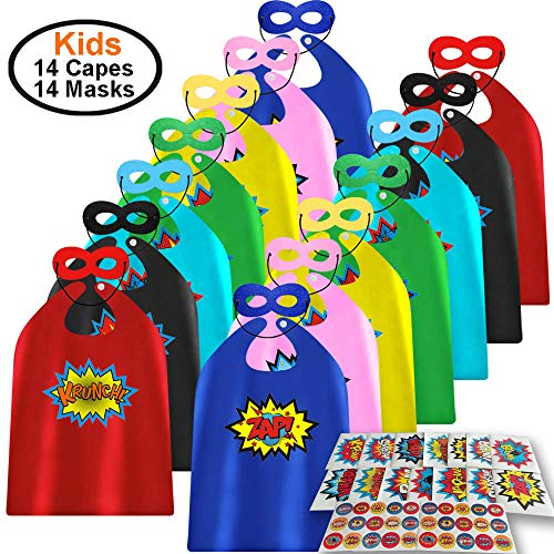 Child Super Hero Capes and Masks 14 Sets Pack with Superhero Stickers - Superhero Themed Birthday Party Dress Up Capes