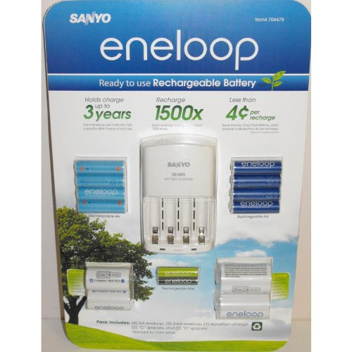 Sanyo Eneloop Ni-MH Charger (with 8 'AA' and 2 'AAA' Batteries, Plus 2 'C' and 2 'D' Adpaters)