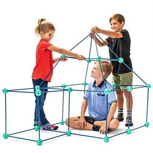 Fun Forts Kids Tent for Kids - 81 Pack STEM Toys Fort Building Kit, Building Toys Play Tent Indoor and Outdoor Playhouse for Kids Construction Toys with 52 Rods and 29 Spheres (Green, Blue)
