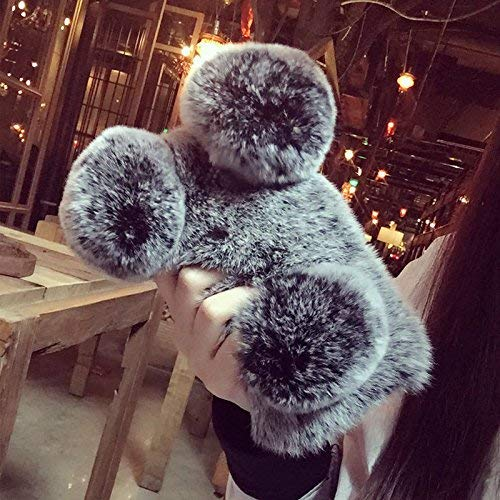 for iPhone 6 Case iPhone 6S Case Fluffy Panda Bear Protective Phone Case for Woman Fashion Pom Pom Faux Furry Case Bling Diamond Cover Soft Cute Girls Case for iPhone 6 iPhone 6S Grey