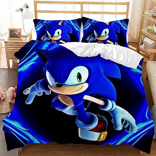 Trduast Kids Sonic The Hedgehog Bedding Sets for Boys Twin Size 2 Pieces Duvet Cover Bed Set 3D Cartoon Theme Comforter Cover Blue